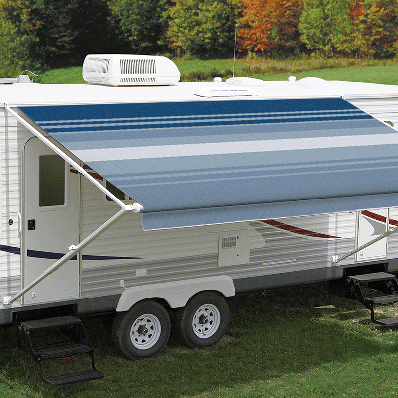 14ft Ocean Blue Dune Roll Out Awning (No Arms)
