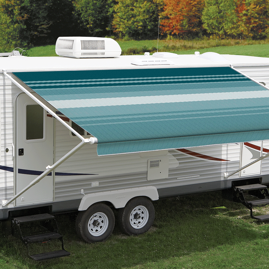 14ft Teal Dune Roll Out Awning (No Arms)