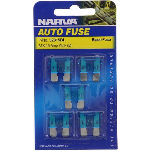 NARVA 15 Amp BLUE ATS Blade Fuse - 5 Per Pack. 52815BL