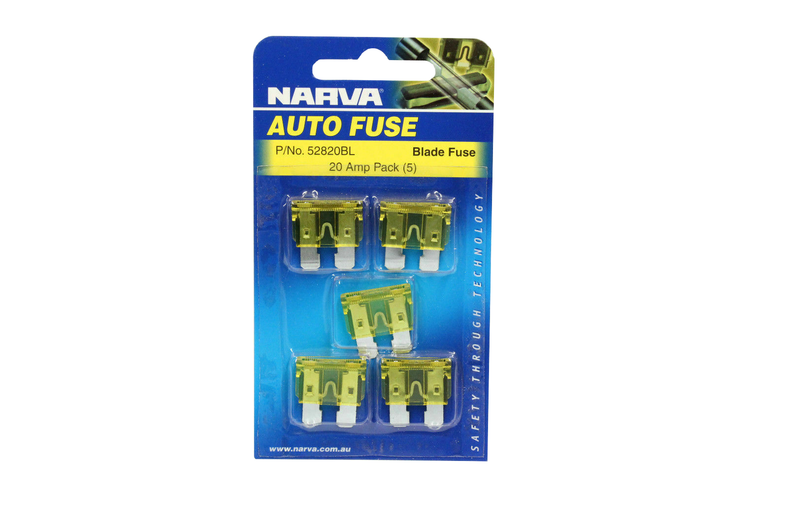 NARVA 20 Amp YELLOW ATS Blade Fuse - 5 Per Pack. 52820BL