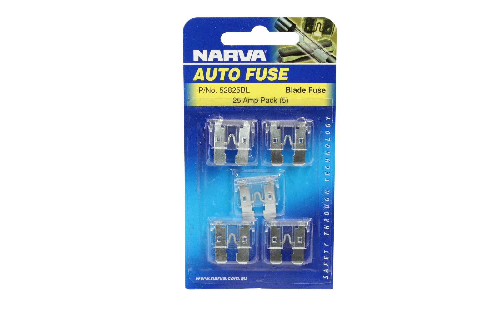 NARVA 25 Amp CLEAR ATS Blade Fuse - 5 Per Pack. 52825BL
