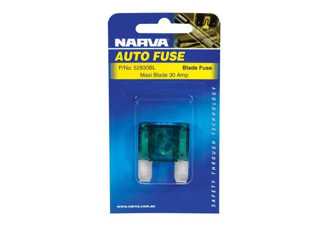 NARVA 30 Amp GREEN MAXI-Blade Fuse - 1 Per Pack. 52930BL