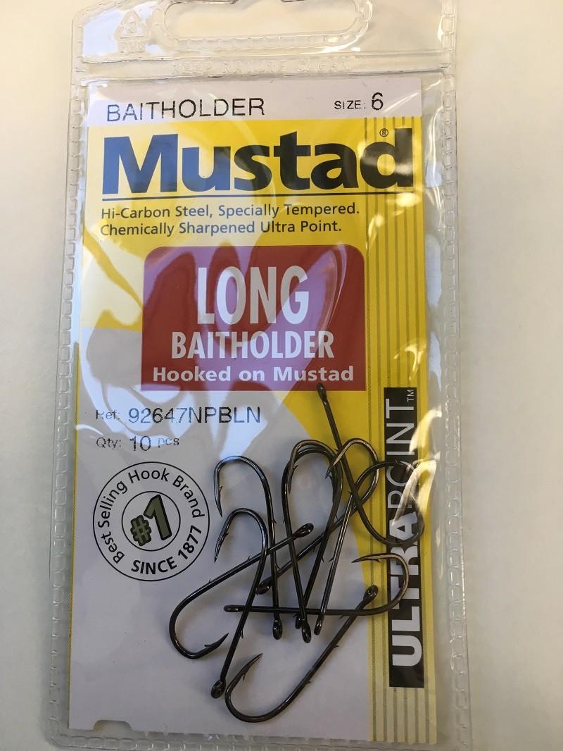Mustad Chem/Sharp Black Baitholder Hook (10 per Pack) - Size 6