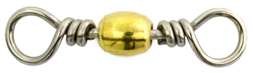Mustad 23kg Brass Barrel Swivel (10 per Pack) - Size 8