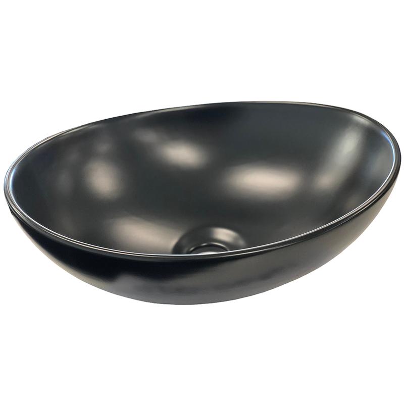 Matt Black Oval Ceramic Bathroom Basin