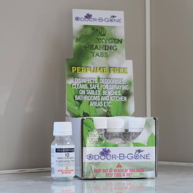 ODOUR B GONE SLOW RELEASE Mini Oxygen Disinfectant Tablets. Green 2g - 10 Pk
