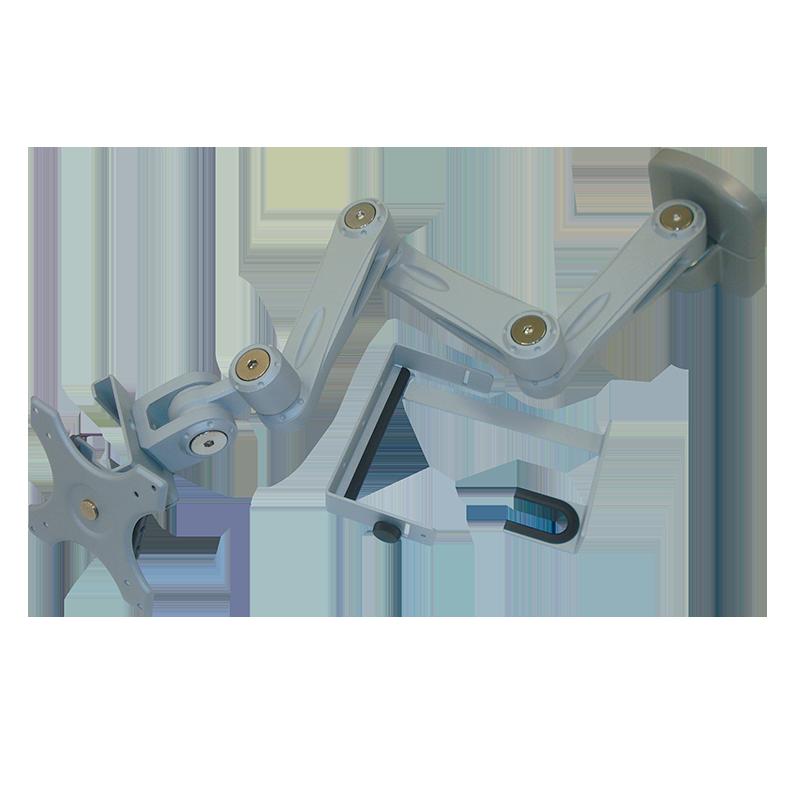 Sphere Triple Arm Wall Mount Monitor Bracket With Lock (Silver)
