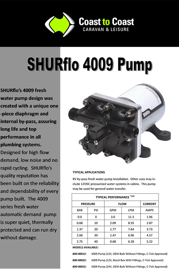 Shurflo Water Pump >> Shurflo 12V 4009 Water Pump With Fittings (C-Tick Approved) - Coast to Coast RV