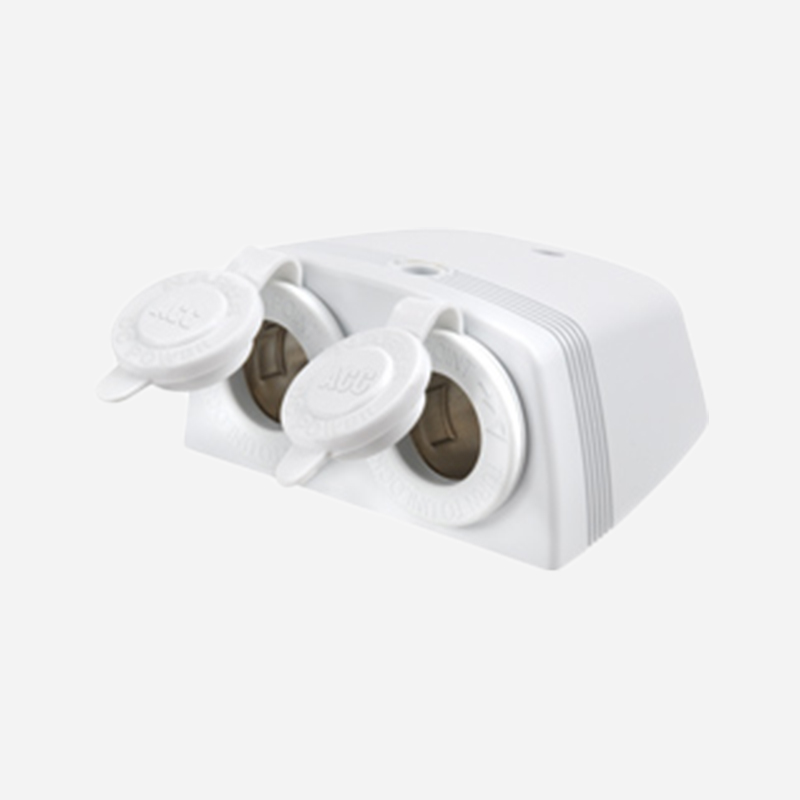 ACCESSORY SOCKET WHITE SURFACE MOUNT TWIN SOCKETS
