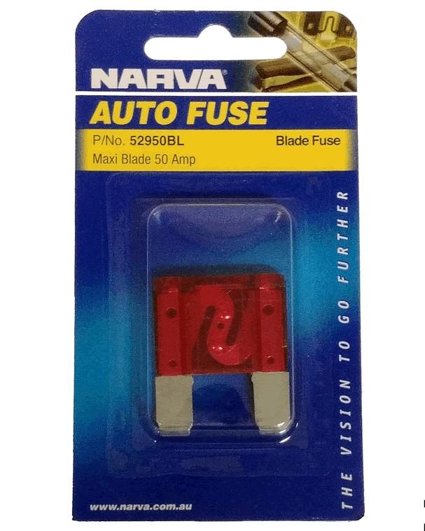 NARVA 50 Amp RED MAXI-Blade Fuse - 1 Per Pack. 52950BL